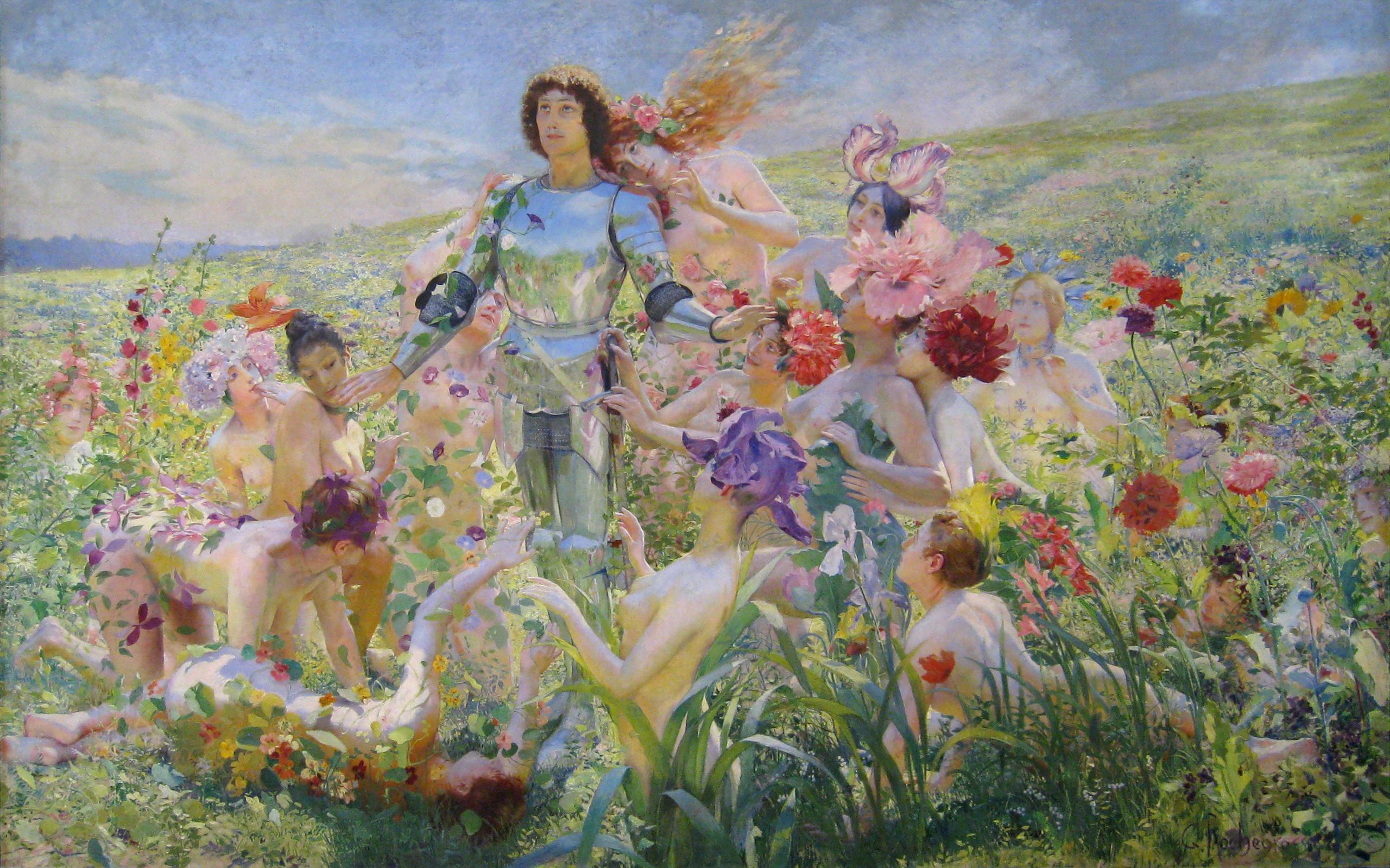 Le Chevalier aux Fleurs, Georges Antoine Rochegrosse [public domain]