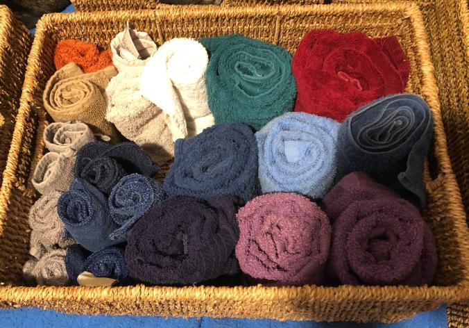 Towels stored konmari style