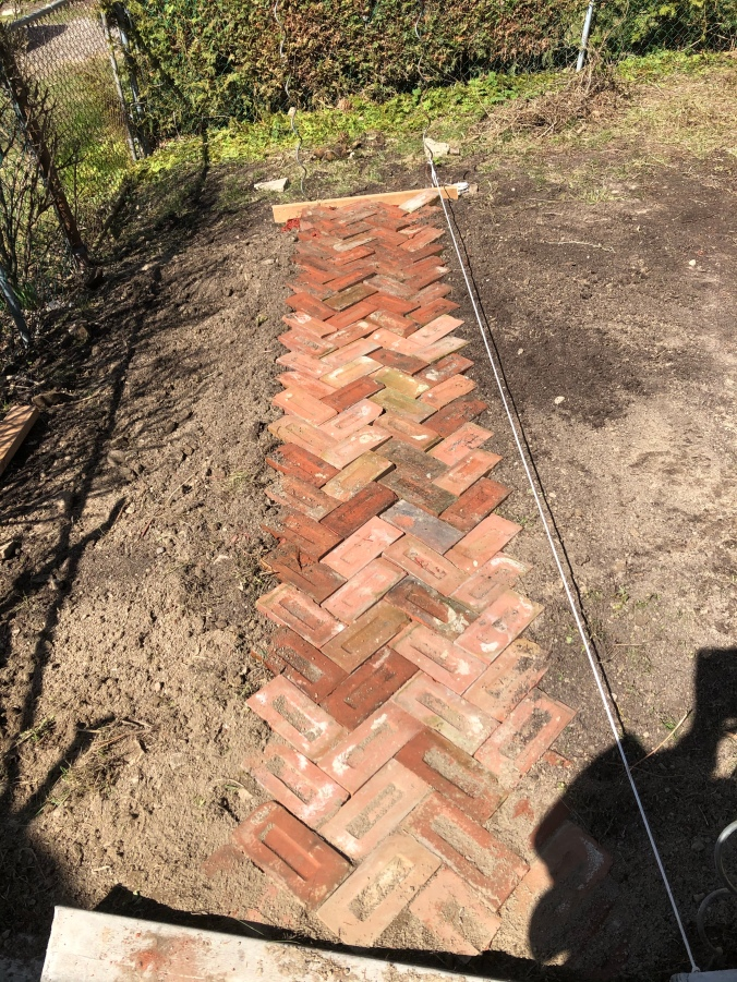 Herringbone brick path