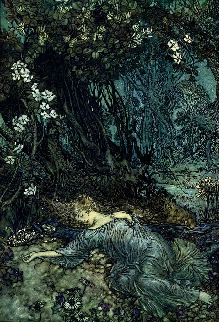 A sleeping lady. Art by Arthur Rackham.